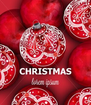 Red Christmas balls Vector decoration banner. Realistic ornamented Christmas baubles. colorful New Year decors red and white painted style - starpik
