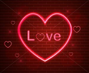 Red Love symbol in neon light Vector. Valentine day romantic symbol. Modern graphic brick background - starpik