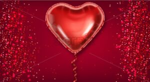 Red balloon heart on glitter background Vector realistic. Valentine day card template. Romantic poster with air balloon foil - starpik