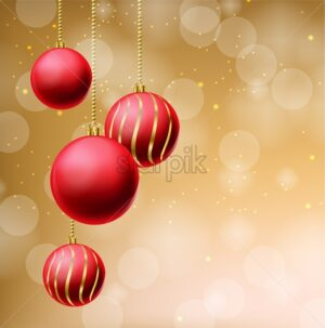 Red glitter Christmas balls on beige background Vector realistic. Merry Christmas elements. Detailed 3d illustration decor - starpik