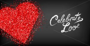 Red glitter heart Valentine day card Vector. Celebrate love text. Romantic banner. Invitation card or brochure. Red and black color background - starpik