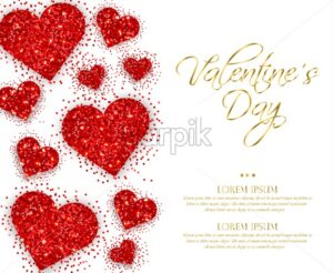 Red glitter hearts Valentine day Vector. Romantic card template. Invitation or party poster - starpik