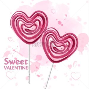 Red heart lollipop candy watercolor Vector. Sweet candy Valentine day - starpik