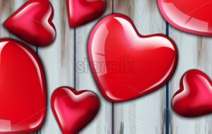 Red hearts realistic background Vector. Valentine day card. Romantic poster with shiny hearts on wooden background. Decor design template. 3d illustration - starpik