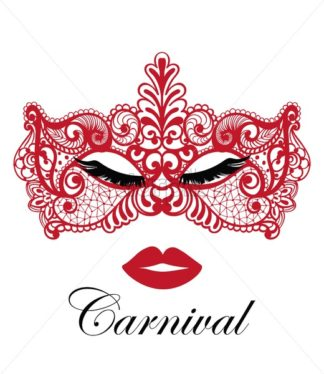 Red mask lace Vector. Sexy woman face template. Masquerade Party. Mardi Gras card invitation. Carnival passionate design. Night Party Poster. Dance Flyer. Musical Banner template - starpik