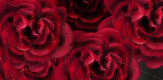 Red Roses Watercolor Background Template Vector Invitation Card