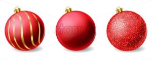 Red shiny glitter Christmas balls Vector realistic. Merry Christmas elements isolated. Detailed 3d illustration decor - starpik
