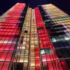 Rogier Tower at night with colorful lights. Brussels, Belgium