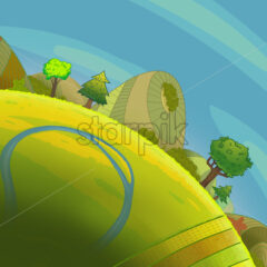 Round green hills with trees and a river. Cartoon stylish background raster illustration.
