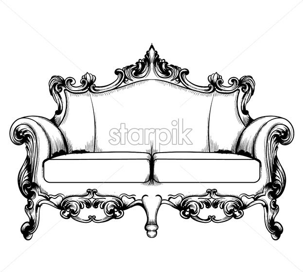 Royal couch Vector. Baroque Classic imperial ornaments decor. Vintage design furniture. Engraved line art style - starpik
