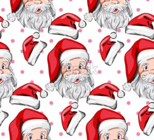 Santa Claus pattern Vector. Holiday Eve background decor texture - starpik