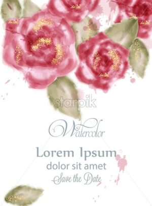 Save the date card with watercolor pink roses Vector. Invitation card, wedding ceremony, delicate postcard, Women day greeting card. Beautiful color - starpik