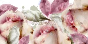 Spring flowers bouquet watercolor background Vector. Roses, peony and delicate blooming flowers. Invitation card, wedding ceremony, delicate postcard, Women day greeting. Beautiful pastel color - starpik