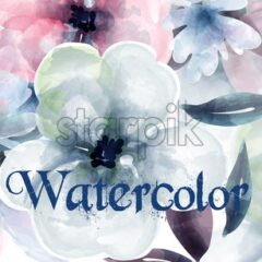 Spring flowers watercolor background Vector. Delicate blooming floral banner decor. Invitation card, wedding ceremony, postcard, Women day greeting. colorful drops flow. Beautiful pastel color - starpik