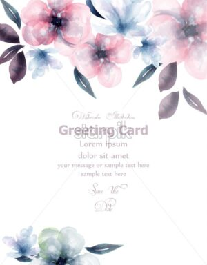 Spring flowers watercolor card Vector. Delicate blooming floral banner decor. Invitation card, wedding ceremony, postcard, Women day greeting. colorful drops flow. Beautiful pastel color - starpik