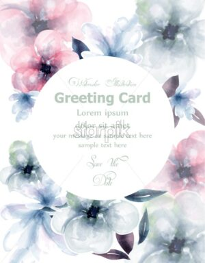 Spring flowers watercolor round card Vector. Delicate blooming floral banner decor. Invitation card, wedding ceremony, postcard, Women day greeting. colorful drops flow. Beautiful pastel color - starpik