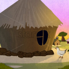Tribe village houses with chicken in Africa. Cartoon stylish background raster illustration.