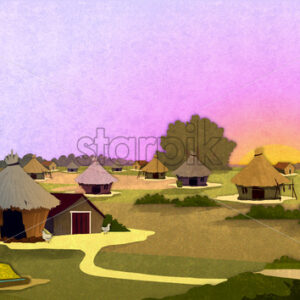 Tribe village houses with farm animals at sunrise in Africa. Cartoon stylish background raster illustration.
