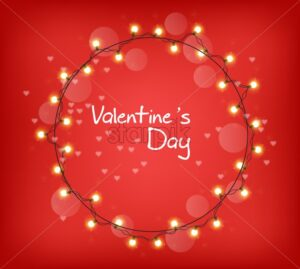 Valentine Day glowing lights wreath Vector realistic. Colorful bulb lights garland. 3d illustration. Beautiful holiday poster - starpik