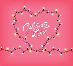 Valentine Day heart with glowing lights Vector. Celebrate Love text card. Heart shape realistic colorful lights garland. 3d illustration. Beautiful holiday poster - starpik