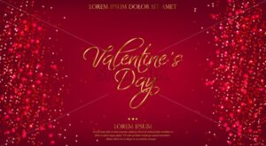 Valentine Day red background with glitter Vector. Shiny glossy banner template. Golden text and sparkling light - starpik