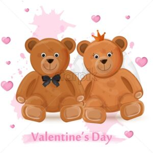 Valentine day card with teddy bears couple Vector watercolor illustration - starpik