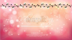 Valentine day pink background with lights Vector. Romantic banner. Invitation card or brochure. Pastel pink powder color - starpik