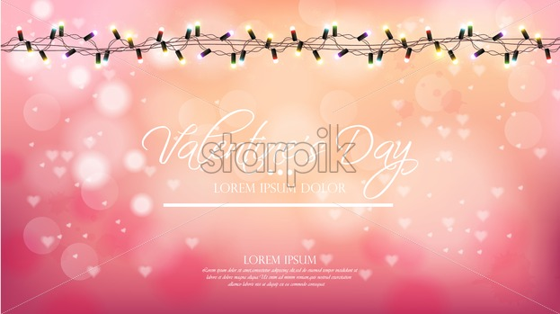 Valentine Day Pink Background With Lights Vector Romantic Banner Invitation Card Or Brochure Pastel Pink Powder Color