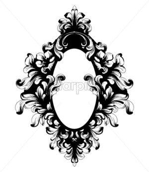 Vintage Baroque Mirror frame. Vector French Luxury rich intricate ornaments. Victorian Royal Style decor - starpik