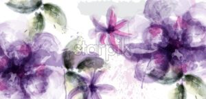 Violet flowers watercolor background Vector. Purple and delicate blooming decor. Invitation card, wedding ceremony, postcard, Women day greeting. Flow colorful drops. Beautiful pastel color - starpik