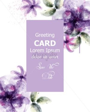 Violet flowers watercolor card Vector. Purple stains and delicate blooming decor. Invitation card, wedding ceremony, postcard, Women day greeting. Flow colorful drops. Beautiful pastel color - starpik