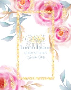 Watercolor pink roses with golden glitter Vector. Invitation card, wedding ceremony, delicate postcard, Women day greeting card. Beautiful pastel color - starpik