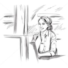 Woman working on a laptop Vector. Freelance girl sitting at a table. Storyboard advertise digital template. Sketch style illustrations - starpik