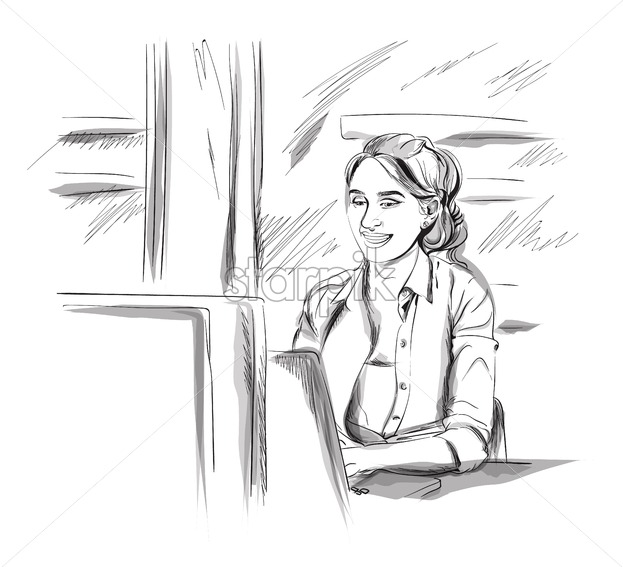 Woman working on a laptop Vector  Freelance girl sitting at a table   Storyboard advertise digital template  Sketch style illustrations