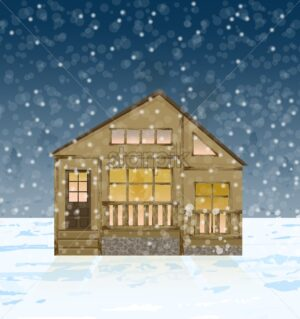 Wood house facade in winter Vector. Snowing background illustration - starpik