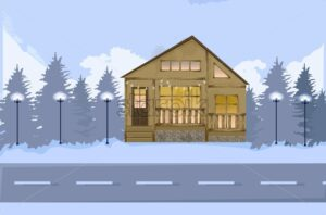 Wood houseon a road in winter Vector. Snowing background illustration - starpik