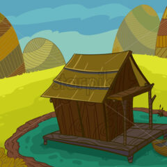 Wooden house on a lake raster illustration drawn in cartoon style.