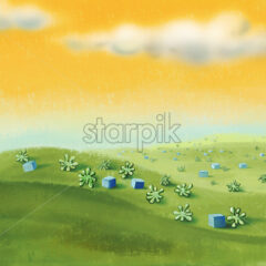 Yellow sky with green meadow with cubes and plants. Digital background raster illustration.