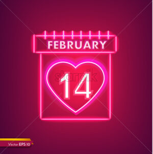 14 february calendar in neon light Valentine day card Vector. Red romantic symbol neon light Vector. Valentine day celebrate. Modern graphic template - starpik