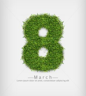 8 march green grass Vector realistic. Symbol sign label offer - starpik