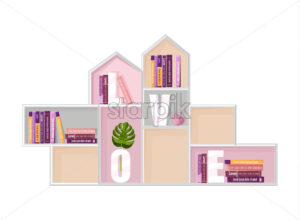 Abstract shelf books decor Vector. Modern design. Flat style - starpik