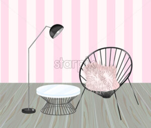 Armchair and table. Striped background. Living room design Vector. Modern decorations. Flat style - starpik