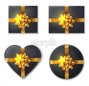 Black Gift box and golden bow set Vector realistic. Product placement mock up. Design packaging 3d illustration - starpik