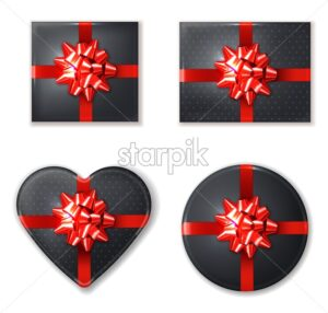 Black giftbox set with red bow Vector realistic. Product placement mock up. Design packaging 3d illustration - starpik