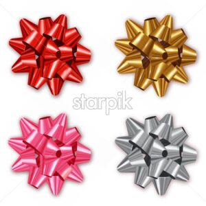 Bow set collection Vector realistic. Shiny Colorful red, silver, golden. Decor wrapping element. 3d detailed illustration - starpik
