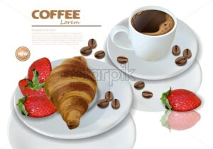 Breakfast coffee and croissant Vector realistic. 3d detailed card menu template. Strawberry jam flavor. delicious desserts poster - starpik