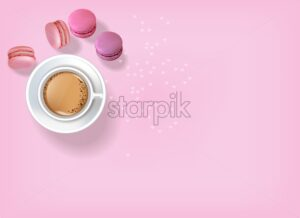 Breakfast coffee and macaroons Vector realistic. 3d detailed card menu template. Delicious desserts pink posters Top view - starpik
