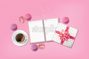 Breakfast coffee and macaroons Vector realistic. 3d detailed card menu template. delicious desserts posters Top view - starpik