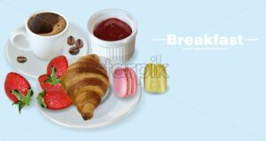 Breakfast coffee, croissant and macaroons Vector realistic. 3d detailed card menu template. Strawberry jam flavor. delicious desserts poster - starpik