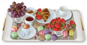 Breakfast coffee, croissant strawberries Vector realistic. Full morning fresh meal. 3d detailed menu template. Strawberry jam flavor. delicious desserts poster - starpik